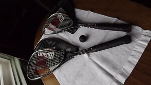 SQUASH RACKETS WITH CASES AND BALL