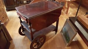 Antique dropleaf tea wagon serving trolley with a drawer West Island Greater Montréal image 1