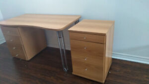Computer desk with separate cabinet drawers