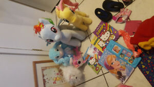 my little pony, books, clown cost, necklace stand, Dora suitcase