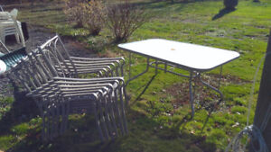 Glass Patio table, chairs, cushions and Umbrella