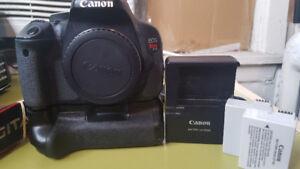Canon Rebel T3i w/ battery grip + 2 batteries
