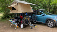 Small utility trailer for camping with TMBK 3-Person RooftopTent