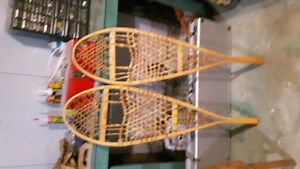 Very old chestnut canoe company snow shoes.