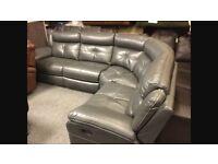 Grey Faux Leather Corner Sofa