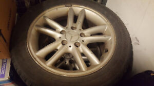 Used all four Mercedes rims and tires. P205/55R16. 2004 c240