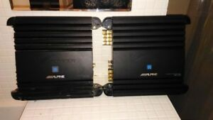 MATCHING ALPINE 4 CHANNEL AND MONO BLOCK AMPS FOR SALE