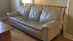 Beige leather sofa couch 3-seater