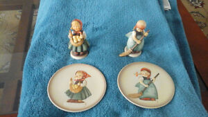 """Hummel  """"Little  Homemakers"""" , pair of figurines  and mini-plate"""