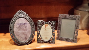 3 antique silver finished picture frames