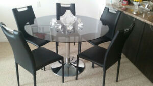 Glass Dining Table with 5 Chairs