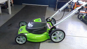 "Greenworks 20"" electric lawnmower"