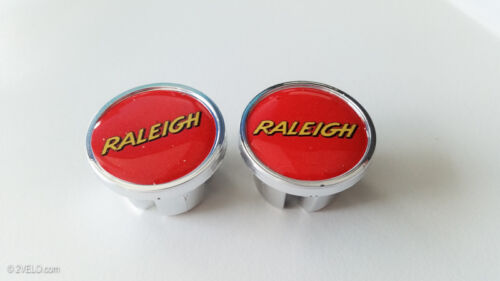 Vintage style RALEIGH Handlebar End Plugs - red