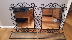 Wrought Iron Mirror and Shefl Set - Miroir étagère en fer forgé