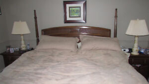 King Size Bed, like new mattress and quality Headboard