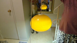 """Vintage 60s/70s Hanging Ceiling Fluorescent Lamp 15"""" Canada"""