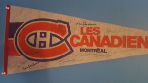 Montreal Canadiens flag signed