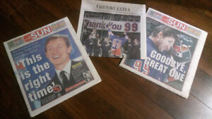 Newspapers from '90s, Gretzky, Blue Jays World Series, Leafs