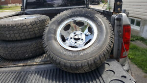 Chrom rims with good tires for truck
