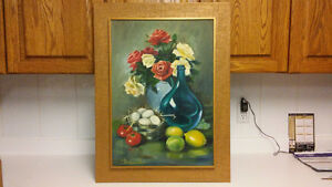 Listed artist flowers oil painting