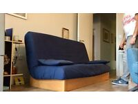 3-seater sofa bed with integral storage box - navy blue & beech - IKEA Beddinge