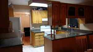 Oak kitchen cabinets with granite counters