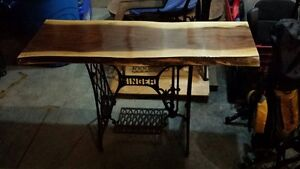 Live Edge Table with Antique Singer Base -