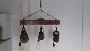 Vintage Industrial Light Fixture made of Pulleys