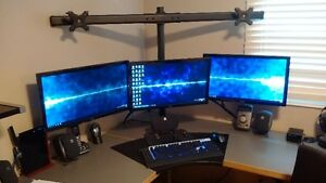 ASUS VE247H triple display setup with HEAVY 6-monitor stand