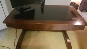 Wood desk with glass top