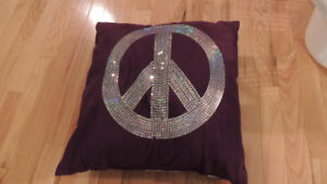 Purple Peace sign bling Pillow