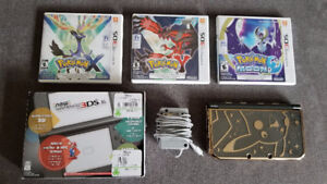 Nintendo New 3DS XL + Pokemon Case + X + Y + Moon + Charger + SD