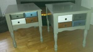 2 magnifiques tables de salon avec rangement, tout en bois.
