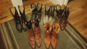 Men's Western / Cowboy Boots, size 10, leather, 7 pairs