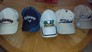 5 golf hats for a couple parts mowers or older small engine