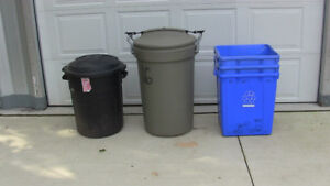 GARBAGE PAILS & BLUE BOXES