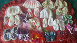 Baby's  shoes and hats hand made