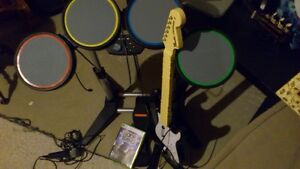 Rock Band drum kit & guitar for Xbox 360