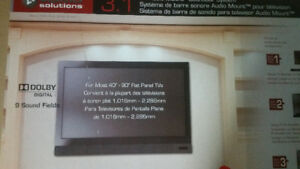 Flatscreen TV wall mount with built-in soundbar.