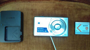 Sony Cyber-shot camera, with battery and charger.