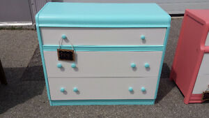 turquoise dresser with white drawer fronts