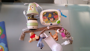 Winnie the Pooh Mobile, lamp and bed screen