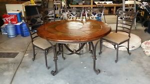 Wood with stone inlay table and chairs