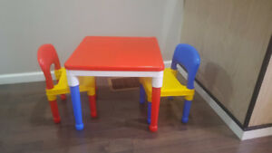 Tot Tutors - 2 in 1 Plastic Construction Activity Table & Chairs