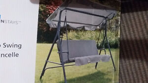 New 3 seater cushioned swing grey ( in box)