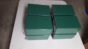 Metal, spray painted boxes