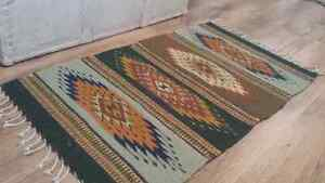 Authentic Hand Made Mexican Wool Rug - Shabby Chic Boho Decor