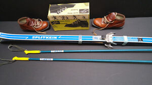 Splitkein X-country Skis w Bindings, Poles, 3-pin Leather Boots