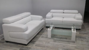 Modern, Contemporary Leather Sofa & Coffee Table- OBO
