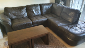 Leather sofa, nested tables, TV stand and side board